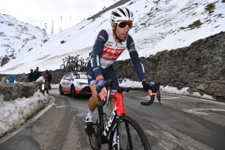 Trek-Segafredo's Vincenzo Nibali climbs the Passo dello Stelvio during stage 18 of the 2020 Giro