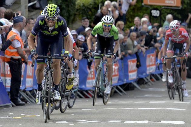 Alejandro Valverde attacks in the 2014 Fleche Wallonne