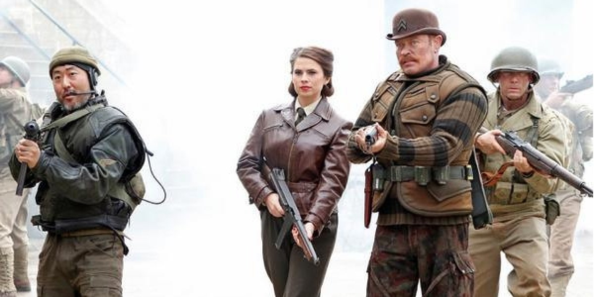 Kenneth Choi as Jim Morita, Hayley Atwell as Peggy Carter and Neal McDonough as Dum Dum Dugan on Agents of S.H.I.E.L.D. (2014)