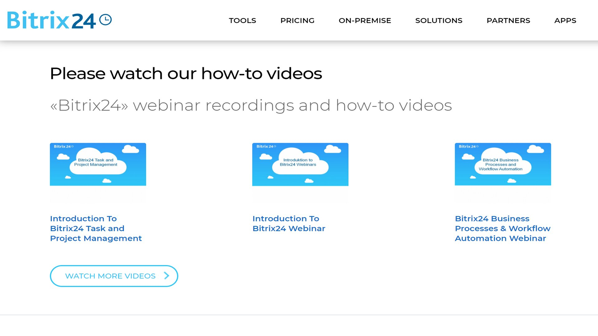 Bitrix24's online how-to videos webpage