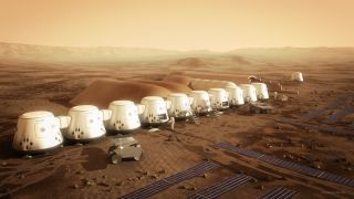 Artist's impression of Mars One's planned colony on the Red Planet, which would begin with the touchdown of four people in 2025 and continuing growing thereafter.