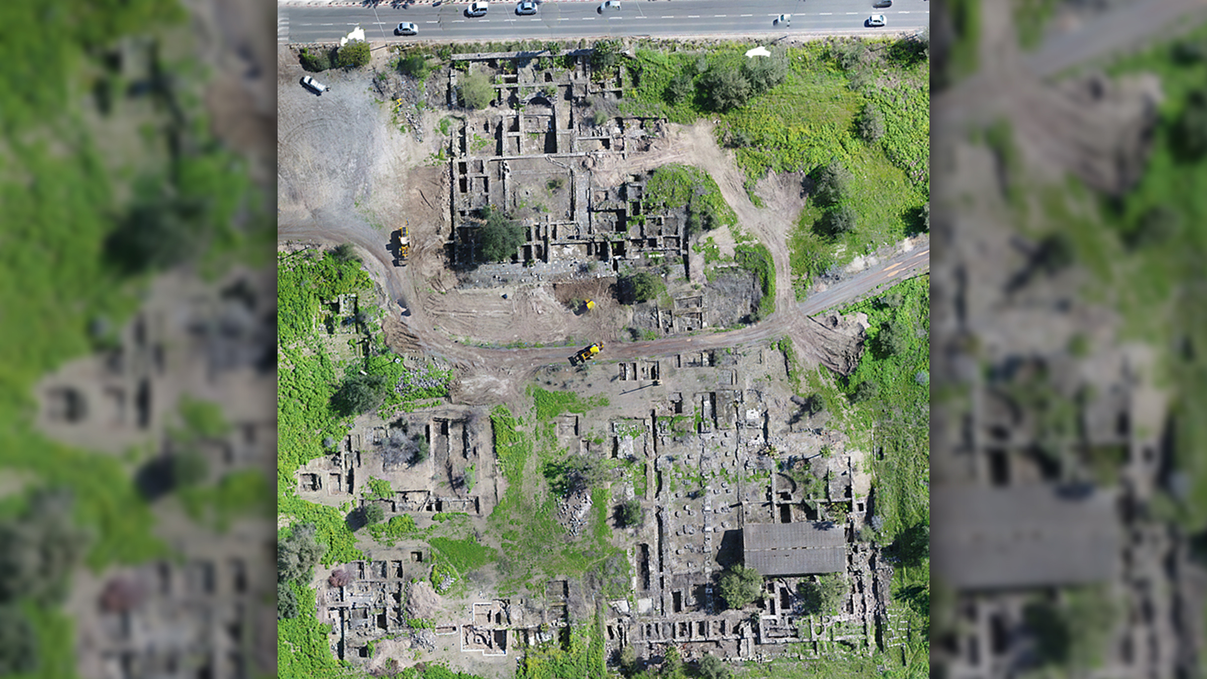An aerial photo of the mosque site