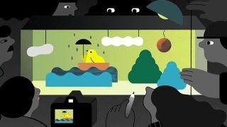 Download Adobe Animate: Cartoon bird in boat with umbrella