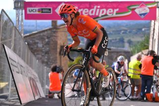 ASSISI ITALY SEPTEMBER 13 Arrival Marianne Vos of The Netherlands and Team CCC Liv during the 31st Giro dItalia Internazionale Femminile 2020 Stage 3 a 1422km stage from Santa Fiora to Assisi 413m GiroRosaIccrea GiroRosa on September 13 2020 in Assisi Italy Photo by Luc ClaessenGetty Images