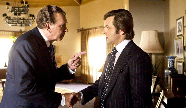 Frost / Nixon Frank Langella Michael Sheen in a forceful handshake