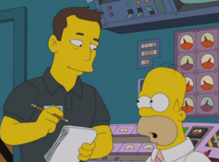 "Elon Musk (left) guest stars in the Jan. 25, 2015 episode of ""The Simpsons"" on Fox."