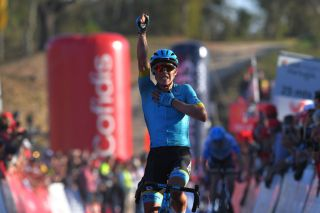 ALTO DO MALHO LOUL PORTUGAL FEBRUARY 22 Arrival Miguel ngel Lpez of Colombia and Team Astana Pro Team Celebration during the 46th Volta ao Algarve 2020 Stage 4 a 1697km stage from Albufeira to Alto do Malho 518m Loul VAlgarve2020 on February 22 2020 in Alto do Malho Loul Portugal Photo by Tim de WaeleGetty Images