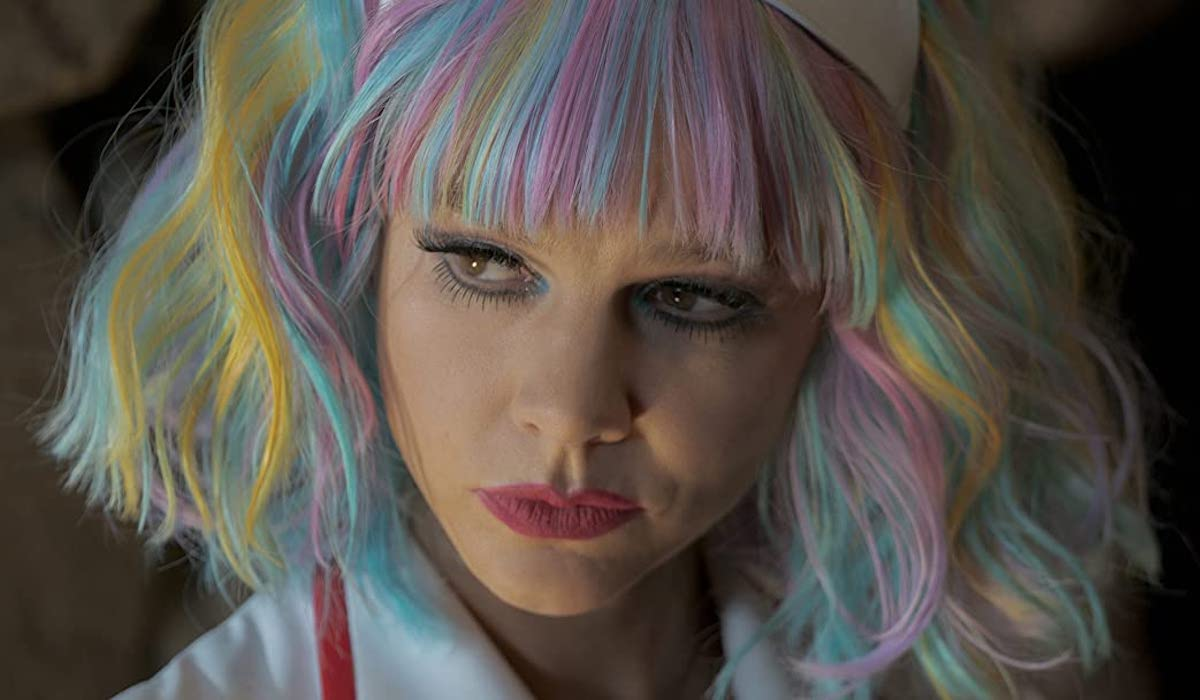 Carey Mulligan in rainbow wig in Promising Young Woman