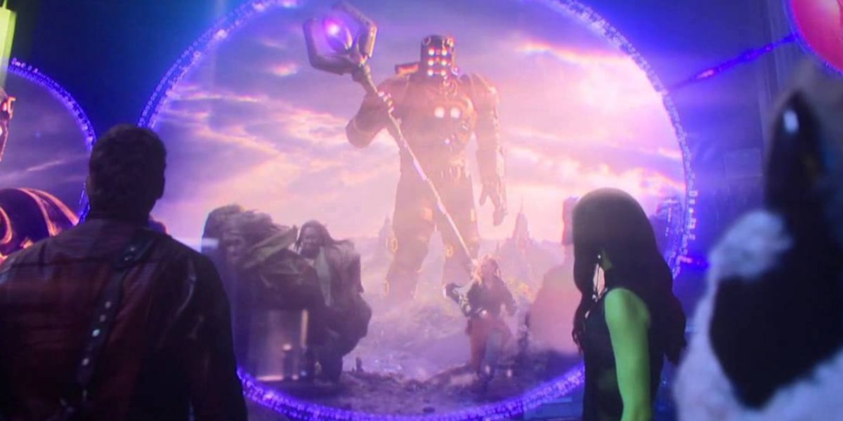 The Guardians watch footage of a Celestial in Guardians of the Galaxy