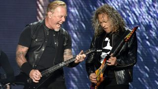 Metallica's James Hetfield and Kirk Hammett onstage at Outside Lands 2017