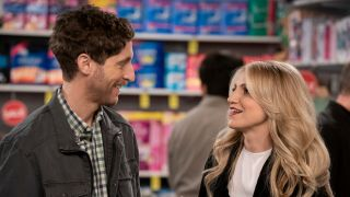 Thomas Middleditch (left) as Drew and Annaleigh Ashford as Gina in CBS's 'B Positive'.