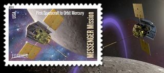 The U.S. Postal Service will release May 4, 2011 a stamp to celebrate the first spacecraft to orbit Mercury.
