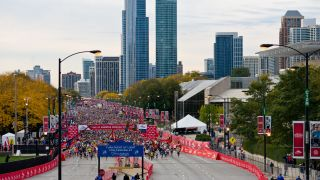 A previous edition of the Chicago marathon, with the Chicago skyline in the background
