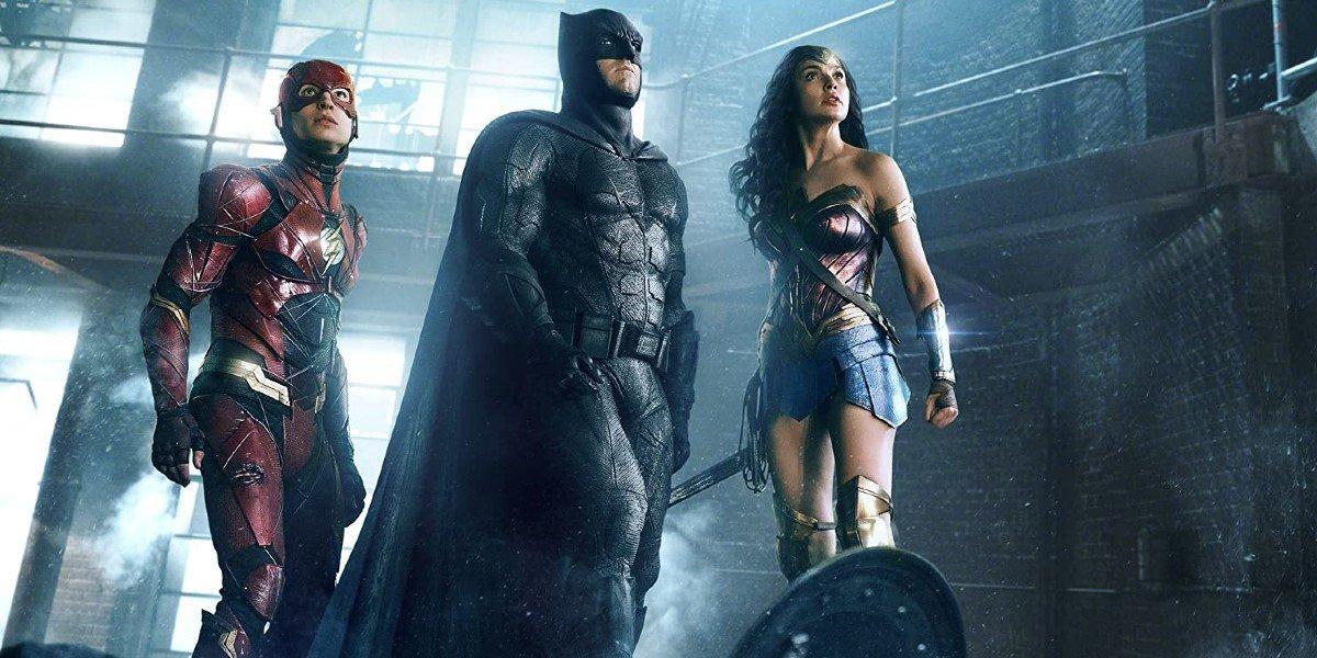 Ezra Miller, Ben Affleck, and Gal Gadot in Justice League