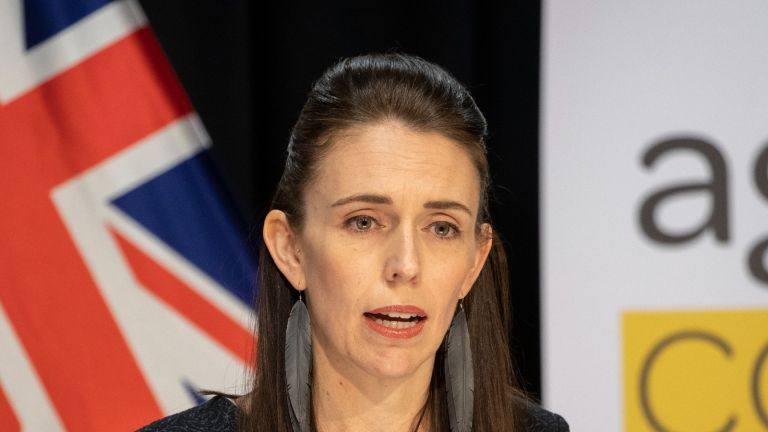 WELLINGTON, NEW ZEALAND - APRIL 15: Prime Minister Jacinda Ardern during the update on the All of Government COVID-19 national response, at Parliament on April 15, 2020 in Wellington, New Zealand. New Zealand has been in lockdown since Thursday 26 March following tough restrictions imposed by the government to stop the spread of COVID-19 across the country. A State of National Emergency is in place along with an Epidemic Notice to help ensure the continuity of essential Government business. Under the COVID-19 Alert Level Four measures, all non-essential businesses are closed, including bars, restaurants, cinemas and playgrounds. Schools are closed and all indoor and outdoor events are banned. Essential services will remain open, including supermarkets and pharmacies. Lockdown measures are expected to remain in place for around four weeks, with Prime Minister Jacinda Ardern warning there will be zero tolerance for people ignoring the restrictions, with police able to enforce them if required. (Photo by Mark Mitchell - Pool/Getty Images)