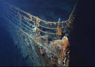 The bow of Titanic photographed in June 2004, by the ROV Hercules during an expedition returning to the shipwreck of the Titanic.