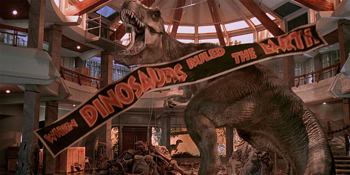 Jurassic Park ending T-Rex when dinosaurs ruled the earth