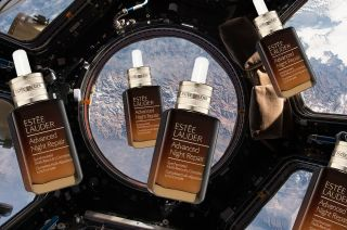 A simulated view of the type that Estée Lauder is paying NASA to produce aboard the International Space Station. Ten bottles of the cosmetics company's Advanced Night Repair serum will be photographed in Earth orbit.