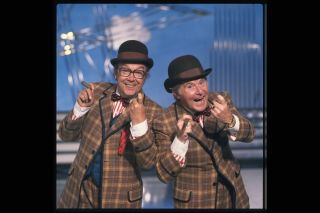 Eric Morecambe and Ernie Wise on a TV Times magazine shoot in 1981.