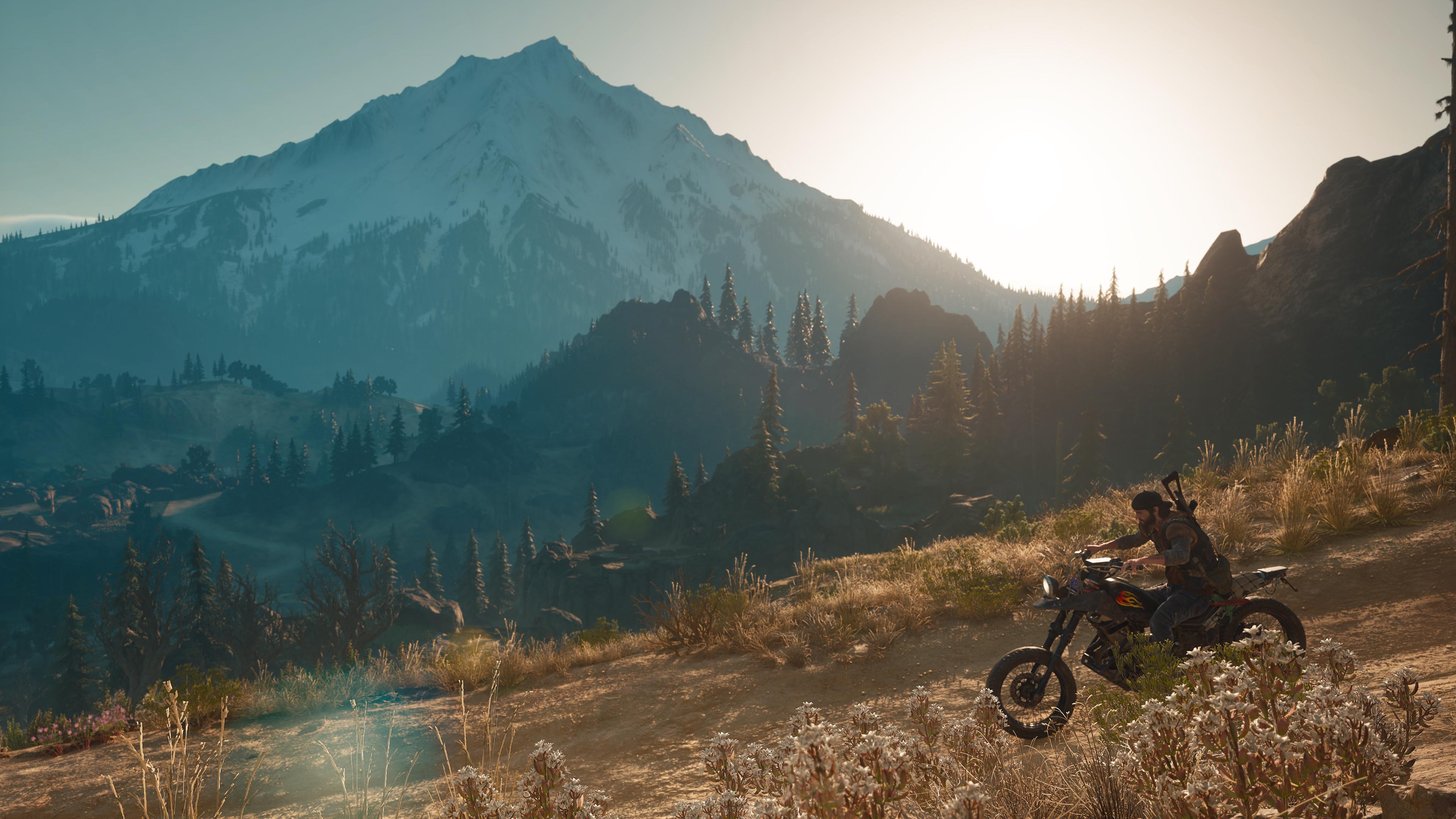 Deacon rides his motorcycle through the mountains of Oregon