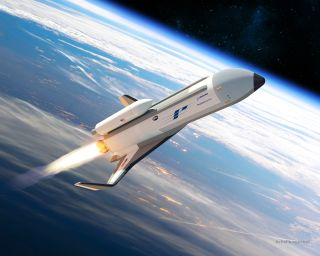The U.S. Defense Advanced Research Projects Agency (DARPA) has picked Boeing to design and build the XS-1 military space plane, a robotic spacecraft for launching small satellites. Boeing's design, called Phantom Express, is shown here in an artist's conc