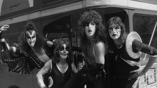 Kiss ride a double decker bus in London, 1976