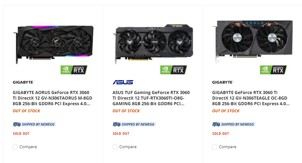 Newegg RTX 3060 Ti listings at launch