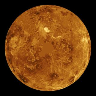 A computer-simulated view of the northern hemisphere of Venus.
