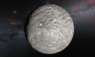 An artist's illustration of Ceres based on mapping and observations from NASA's Dawn spacecraft currently orbiting the dwarf planet in the Asteroid Belt.