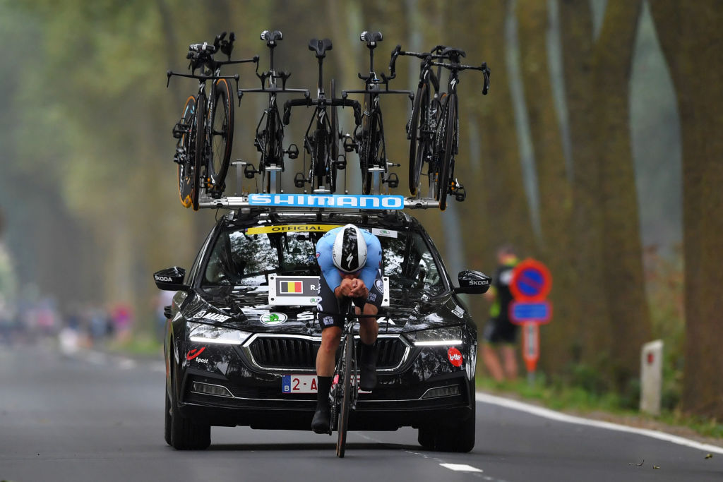 BRUGES BELGIUM SEPTEMBER 19 Remco Evenepoel of Belgium sprints during the 94th UCI Road World Championships 2021 Men Elite ITT a 433km Individual Time Trial race from KnokkeHeist to Bruges flanders2021 ITT on September 19 2021 in Bruges Belgium Photo by Luc ClaessenGetty Images