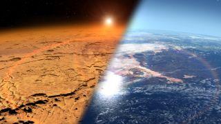 Comparison of dry, orange Mars and wetter, more Earthlike Mars