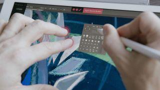 Designer using Astropad on an iPad Pro