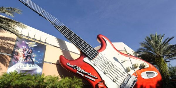Giant Guitar at Rock N' Roller Coaster featuring Aerosmith at Disney's Hollywood Studios.