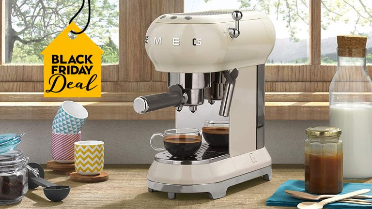 Selfridges sale: Smeg espresso machine in kitchen on worktop