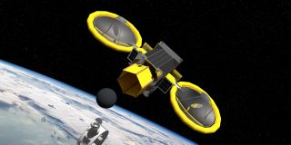 An artist's depiction of the Mini Bee spacecraft designed to test optical mining in space.