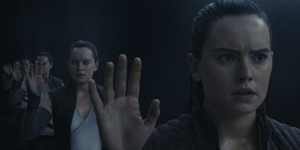 Rey in the mirror cave in Star Wars: The Last Jedi