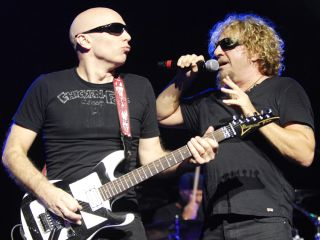 Joe Satriani with Sammy Hagar on stage. Satch says the new Chickenfoot album will explore new directions