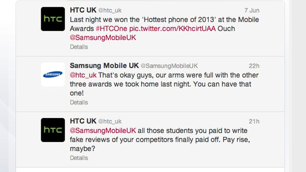 HTC and Samsung have petty, childish (and quite funny) Twitter cat