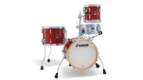 "The tiny 14""x12"" bass drum has natural maple wood veneer hoops which add a touch of class and warm the sound"