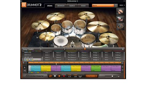 The kit graphic changes to reflect your loaded kit (but not individual pieces). Audition sounds by clicking the drums