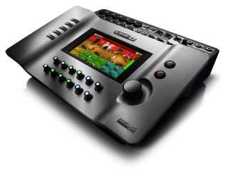 Line 6's StageScape M20d: looks sort of like a massive handheld video game console.