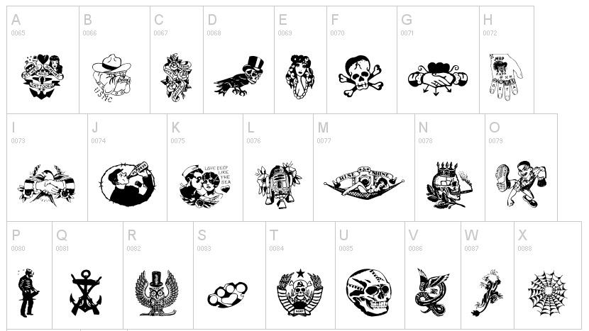 Tattoo fonts: Vieja Escuela