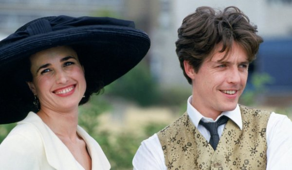 Four Weddings and a Funeral Andie MacDowell and Hugh Grant smiling outdoors