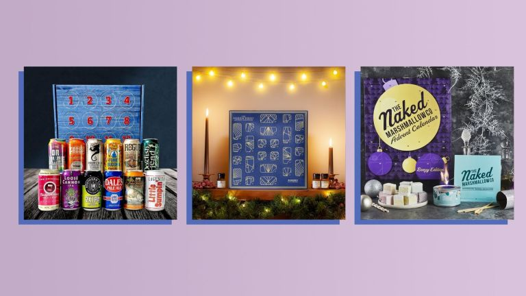 Three of the best alcohol advent calendars of 2021 from Drinks By Dram, Naked Marshamallow Co., and Give Me Beer shown side-by-side