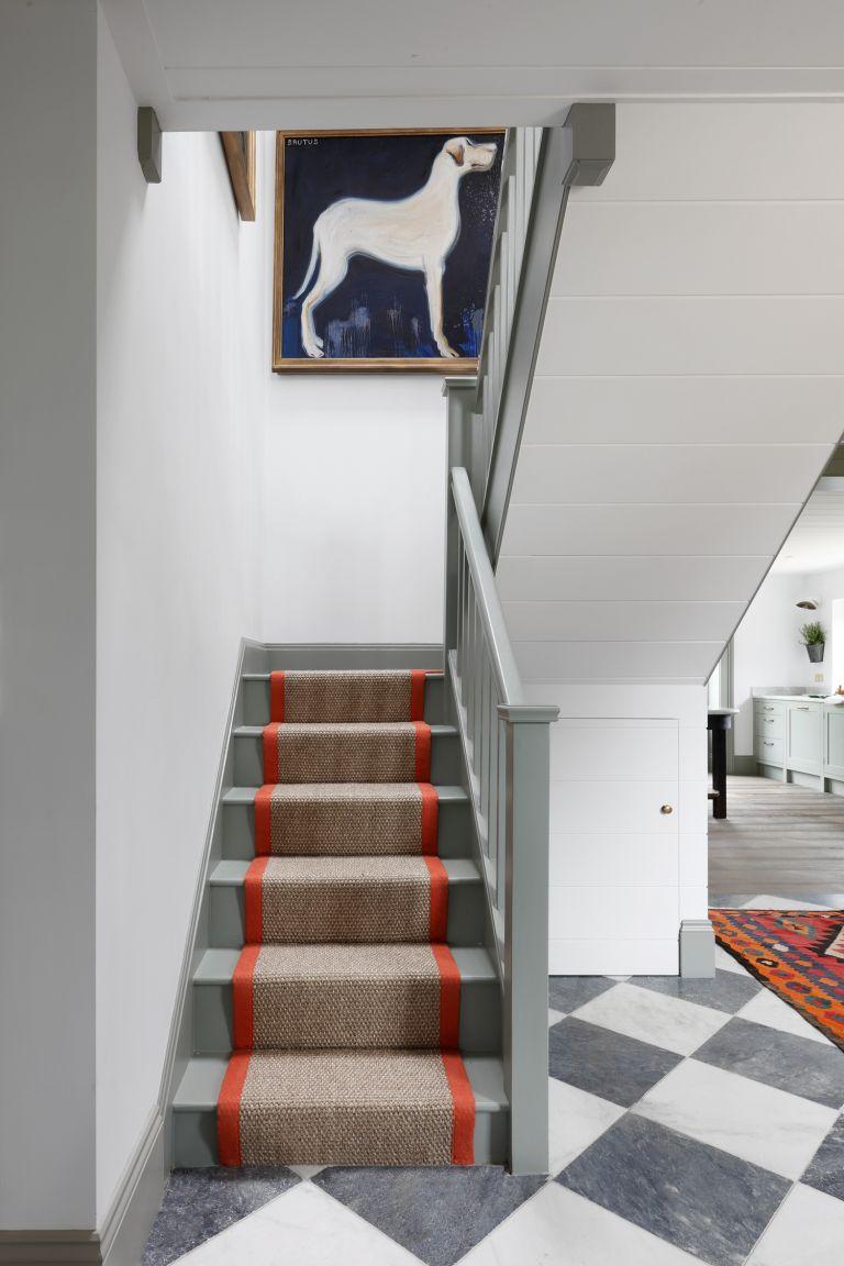 stair runner ideas with orange border