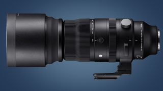 The side of the Sigma 150-600mm F5-6.3 DG DN OS Sports super-telephoto lens on a blue background
