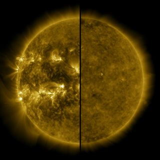 A split image shows the sun during a solar cycle's maximum on the left (April 2014) and during a solar cycle's minimum on the right (December 2019).