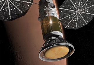 An artist's illustration of the manned spacecraft for the Inspiration Mars mission to send two astronauts on a Mars flyby mission in 2017-2018.