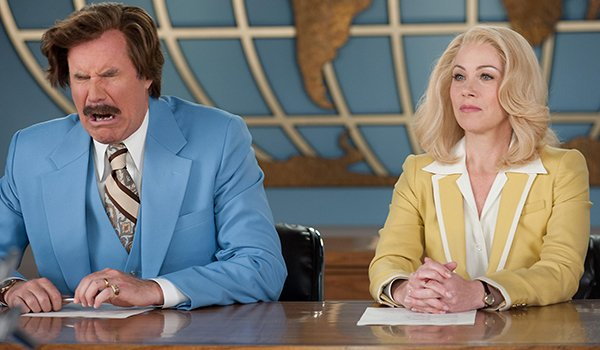 Will Ferrell and Christina Applegate in Anchorman: The Legend Of Ron Burgundy