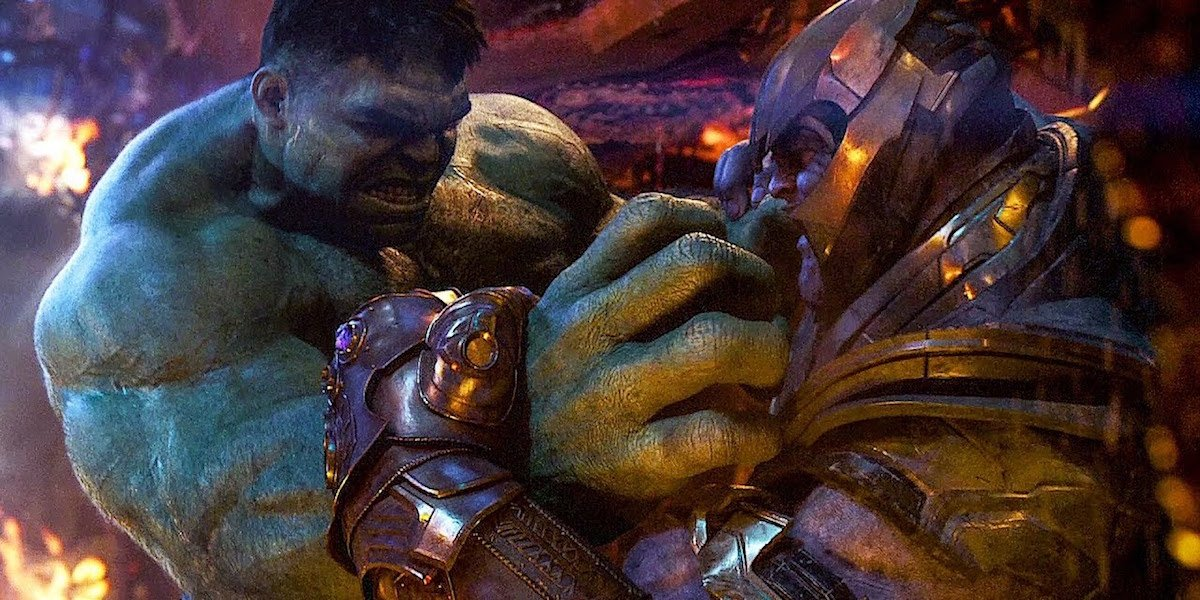 Hulk and Thanos fighting in Infinity War
